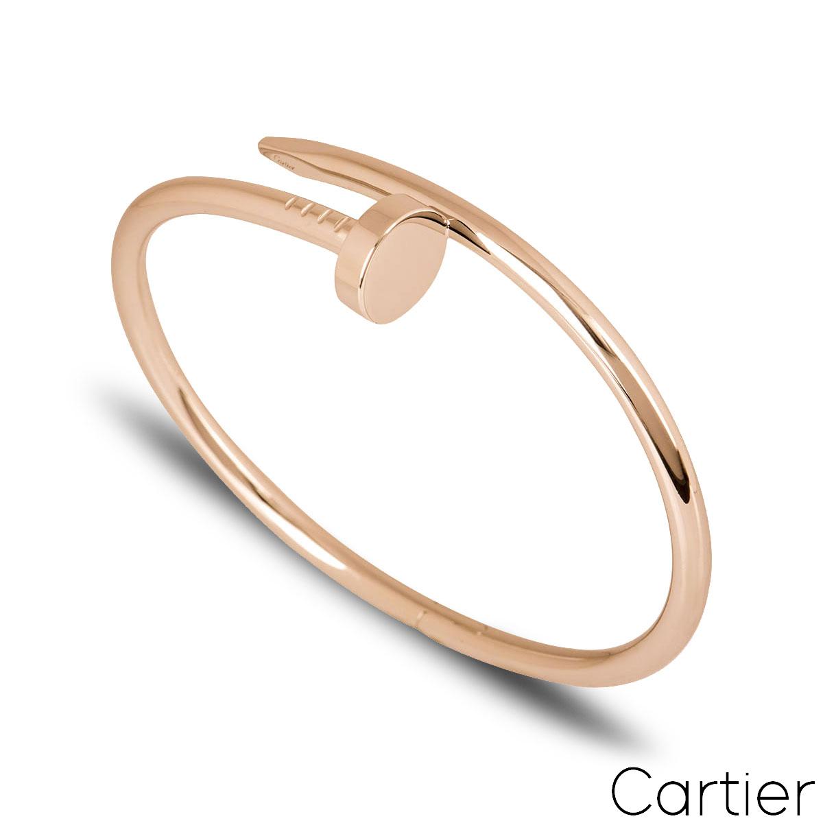 Cartier Rose Gold Plain Juste Un Clou Bracelet Size 19 B6048119